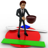 3d man with dish and coffee cup concept Stock Image
