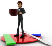 3d man with dish and coffee cup concept Stock Photos