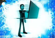 3d man displaying www text in laptop illustration Stock Photos