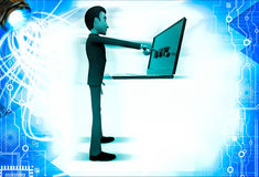3d man displaying www text in laptop illustration Royalty Free Stock Photography