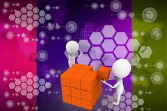 3d man distributing boxes illustration Stock Images