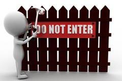3d man do not enter Stock Photos