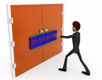 3d man do not enter gate concept Stock Images