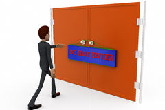 3d man do not enter gate concept Royalty Free Stock Images