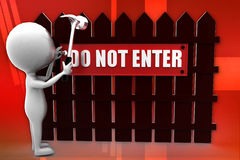 3d man do not enter illustration Royalty Free Stock Photo