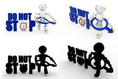 3d man do not stop Concept Collections With Alpha And Shadow Channel Royalty Free Stock Photos