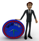 3d man with do it now text blue clock concept Stock Photo