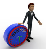 3d man with do it now text blue clock concept Stock Images