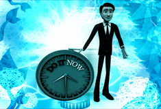 3d man with do it now text blue clock illustration Royalty Free Stock Photos