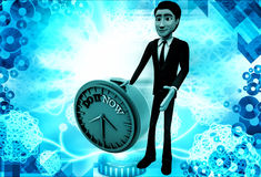 3d man with do it now text blue clock illustration Stock Photo