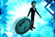 3d man with do it now text blue clock illustration Stock Image