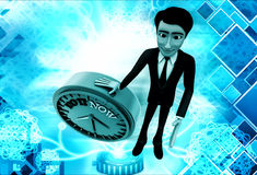 3d man with do it now text blue clock illustration Royalty Free Stock Photo