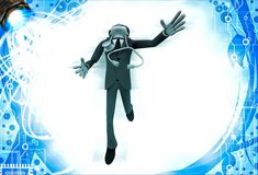 3d man doctor jump in happiness illustration Stock Photos