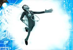 3d man doctor jump in happiness illustration Royalty Free Stock Images