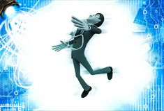 3d man doctor jump in happiness illustration Royalty Free Stock Photos