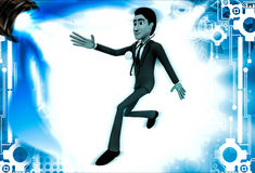 3d man doctor run for emrgency with stethoscope illustration Stock Image