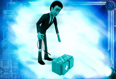 3d man with doctors kit illustration Stock Photography