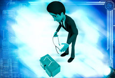 3d man with doctors kit illustration Royalty Free Stock Photos