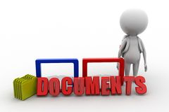 3D man document concept Stock Images
