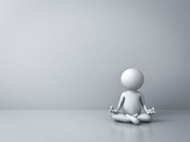 3d man doing meditation with empty white wall Royalty Free Stock Photos