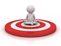 3d man doing meditation on red target over white background with reflection Royalty Free Stock Photos
