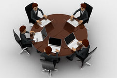 3d man doing meeting on round table in conference room concept Royalty Free Stock Images