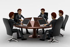 3d man doing meeting on round table in conference room concept Royalty Free Stock Photo