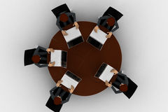 3d man doing meeting on round table in conference room concept Stock Photos