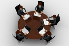 3d man doing meeting on round table in conference room concept Royalty Free Stock Photography