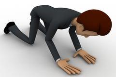 3d man doing prayer on knee concept Stock Image