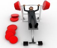 3d man doing weight lifting exercise in gym concept Royalty Free Stock Photos