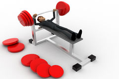 3d man doing weight lifting exercise in gym concept Stock Images