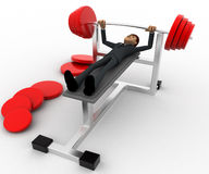 3d man doing weight lifting exercise in gym concept Stock Photography
