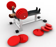 3d man doing weight lifting exercise in gym concept Royalty Free Stock Image