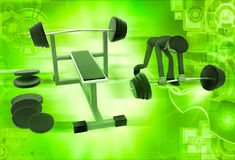 3d man doing work out at gym illustration Stock Photos