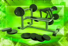 3d man doing work out at gym illustration Stock Images