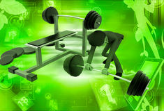 3d man doing work out at gym illustration Royalty Free Stock Photos