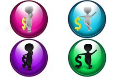 3D Man dollar concept icon Royalty Free Stock Images