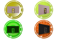 3d man dollar door icon Royalty Free Stock Image