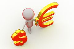 3d man with dollar and euro symbol concept Royalty Free Stock Images