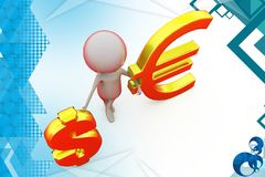 3d man with dollar and euro symbol  illustration Stock Photos