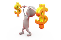 3d man dollar exercise concept Stock Image