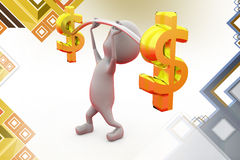 3d man dollar exercise Royalty Free Stock Photography