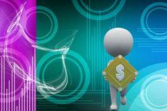 3d man dollar illustration Stock Images