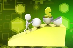 3d man dollar inside broken egg illustration Royalty Free Stock Images