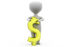 3d man dollar sign concept Stock Photos