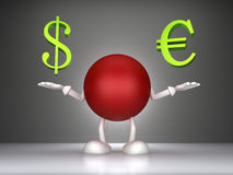 3d man dollar signs and the euro Royalty Free Stock Photos