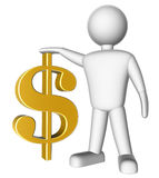 3d man with dollar symbol. On white background Royalty Free Stock Photography