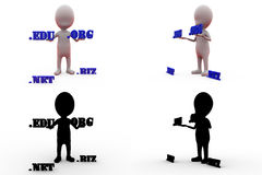 3d man domain name concept collections with alpha and shadow channel Stock Photos