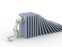 3d man and domino effect Stock Photography